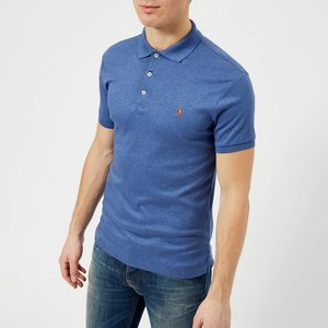 Polo Ralph Lauren Men's Slim Fit Soft Touch Polo Shirt - Faded Royal Heather - L - Blue 710685514006 Mens Tops, Blue
