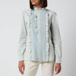 Polo Ralph Lauren Women's Denim Frill Shirt - Chambray - Us 8/uk 12 211827691001 Mens Tops, Blue
