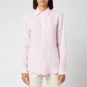 Polo Ralph Lauren Women's Gingham Linen Shirt - 918 Garden Pink/white - Uk 12 211838072001 General Clothing, Pink