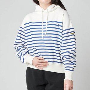 Polo Ralph Lauren Women's Stripe Hooded Top - Deckwash White - M 211827916001 Womens Tops, White