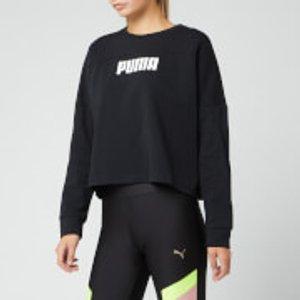 Puma Women's Nu-tility Cropped Crew Neck Sweatshirt - Puma Black - L - Black 58008601 Womens Tops, Black