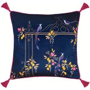 Sara Miller Bird & Gate Cushion - Navy - 50x50cm 5021253146395 Home Textiles, Blue