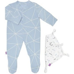 Snüz Baby Sleepsuit And Comforter Gift Set (0-3m) - Geo Breeze Bd019ac Baby Clothes, Blue/White