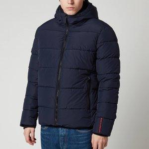 Superdry Men's Sports Puffer Jacket - Navy/black - M M5010227ajyc Mens Outerwear, Blue