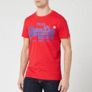 Superdry Men's Vintage Label 1st T-shirt - Lollipop Red - S M1000102a Mens Tops, Red