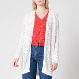 Superdry Women's Bella Pointelle Cardigan - Chalk White - Uk 14 W6110048a Womens Clothing, White