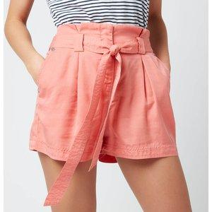 Superdry Women's Desert Paper Bag Shorts - Pomegranate - Uk 12 W7110064a Ok5 General Clothing, Pink
