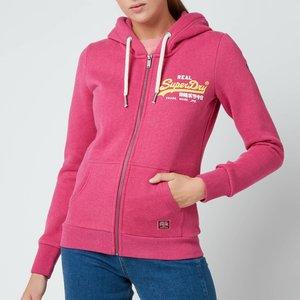 Superdry Women's Vl Duo Zip Hoodie - Magenta Marl - Uk 8 W2010925a 5es General Clothing, Pink