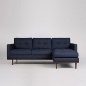 Swoon Berlin House Weave Corner Sofa - Right Hand Side - Navy Berlinrcornerhweaven Furniture, Navy