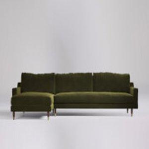 Swoon Reiti Velvet Corner Sofa - Left Hand Side - Corner Sofa - Fern Rietilcornerevelvetf Furniture, Fern