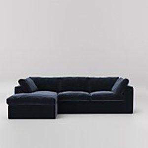 Swoon Seattle Velvet Corner Sofa - Left Hand Side - Ink Seattlelcornerevelin Furniture, Ink