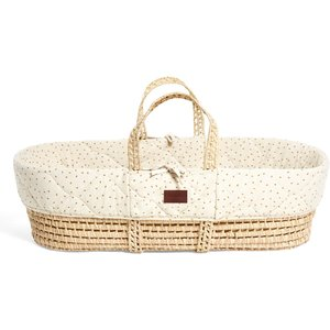 The Little Green Sheep Natural Quilted Moses Basket And Mattress - Linen Rice Fn010h Home Textiles