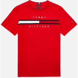 Tommy Hilfiger Boys' Flag Rib Insert T-shirt - Deep Crimson - 6 Years Kb0kb06532xnl Childrens Clothing, Red