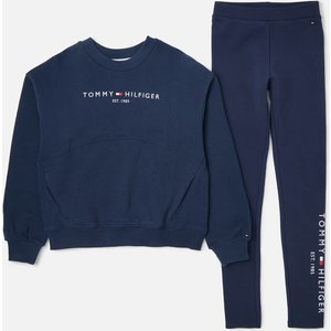 Tommy Hilfiger Girls' Essential Sweatshirt And Leggings Set - Navy - 8 Years Kg0kg06027c87 Childrens Clothing, Blue