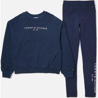 Tommy Hilfiger Girls' Essential Sweatshirt And Leggings Set - Navy - 7 Years Kg0kg06027c87 Childrens Clothing, Blue
