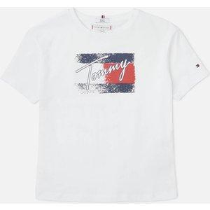 Tommy Hilfiger Girls' Flag Print Short Sleeve T-shirt - White - 12 Years Kg0kg05909ybr Childrens Clothing, White