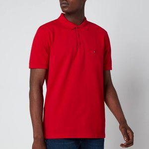 Tommy Hilfiger Men's Contrast Placket Polo Shirt - Primary Red - L Mw0mw19379xlg General Clothing, Red