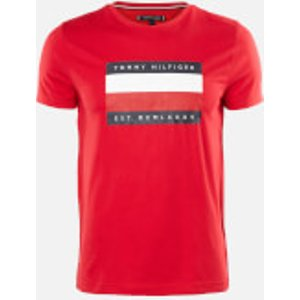 Tommy Hilfiger Men's Corporation Stripe Box T-shirt - Primary Red - S Mw0mw13345xlg Mens Tops