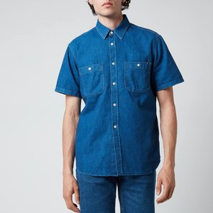 Tommy Hilfiger Men's Denim Short Sleeve Shirt - Louis Blue - Xl Mw0mw193001c3 General Clothing, Blue
