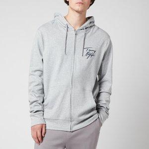 Tommy Hilfiger Men's Full Zip Hoodie - Grey Heather - L Um0um02244p6s Mens Tops, Grey