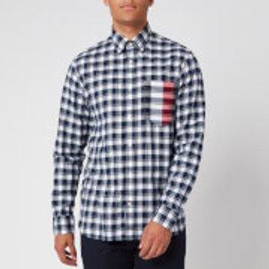 Tommy Hilfiger Men's Gingham Global Stripe Shirt - Pitch Blue/white - Xl Mw0mw13945 0ms Mens Tops, Blue