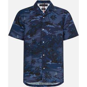 Tommy Hilfiger Men's Hawaiian Print Short Sleeve Shirt - Tonal Blues - S Mw0mw175670gy Mens Tops, Blue