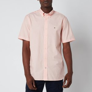 Tommy Hilfiger Men's Soft Poplin Short Sleeve Shirt - Summer Sunset - Xxl Mw0mw18870so2 General Clothing, Pink