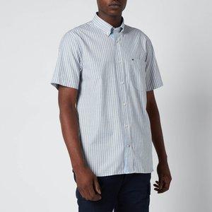 Tommy Hilfiger Men's Soft Stripe Short Sleeve Shirt - Carbon Navy/white - Xl Mw0mw188720a4 General Clothing, Blue