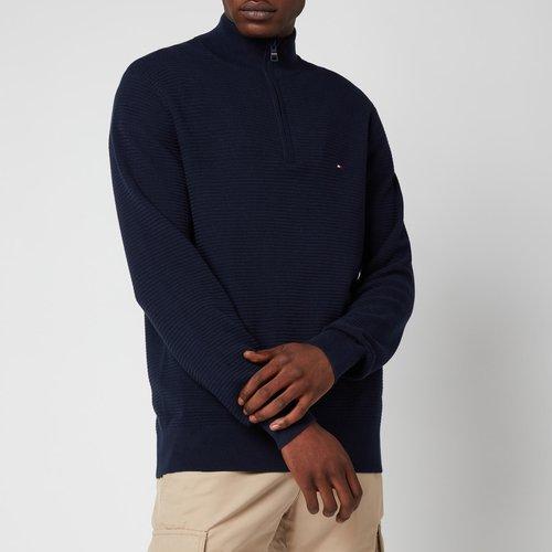 Tommy Hilfiger Men's Structure Mock Neck Knitted Jumper - Desert Sky - L Mw0mw18597dw5 General Clothing
