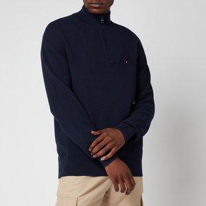 Tommy Hilfiger Men's Structure Mock Neck Knitted Jumper - Desert Sky - L Mw0mw18597dw5 General Clothing, Blue