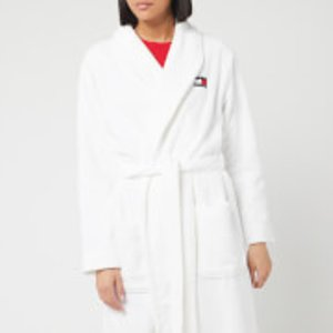 Tommy Hilfiger Women's Towelling Robe Signature - Classic White - L Uw0uw02325ycd Nightwear, White