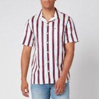 Tommy Jeans Men's Printed Stripe Camp Shirt - White/multi - Xxl Dm0dm079000fo Mens Tops, Multi
