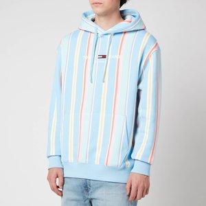 Tommy Jeans Men's Stripe Hoodie - Light Powdery Blue Multi - S Dm0dm11525c1t General Clothing, Multi