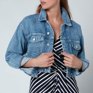 Tommy Jeans Women's Crop Trucker Jacket - Denim Light - S Dw0dw106411ab General Clothing, Blue