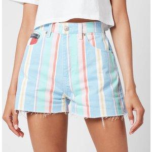 Tommy Jeans Women's Stripe Denim Shorts - Light Powdery Blue Multi - Uk 28 Dw0dw10969 General Clothing, Blue