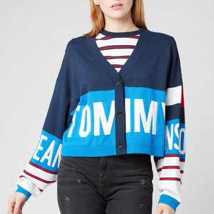 Tommy Jeans Women's Tjw Branded Cardigan - Gulf Coast Blue/multi - M Dw0dw10124c45 Womens Clothing, Blue