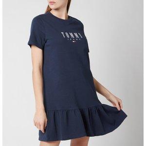 Tommy Jeans Women's Tjw Logo Peplum Dress - Twilight Navy - S Dw0dw10122c87 Womens Dresses & Skirts, Blue