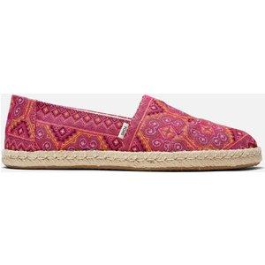 Toms Women's Alpargata Rope Espadrilles - Pink Multi Floral Woven - Uk 8 10016245 Womens Footwear, Pink