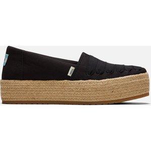 Toms Women's Valencia Vegan Canvas Flatform Espadrilles - Black - Uk 7 10016302 Womens Footwear, Black