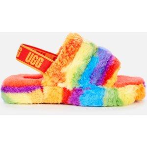 Ugg Kids' Fluff Yeah Cali Collage Slide Slippers - Rainbow Stripe - Uk 2 Kids 1119840k Rstr Childrens Footwear, Multi
