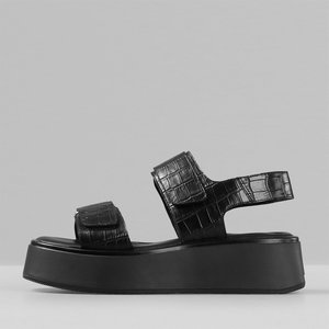 Vagabond Women's Courtney Embossed Leather Double Strap Sandals - Black/black - Uk 7 5134 208 92 Mens Footwear, Black