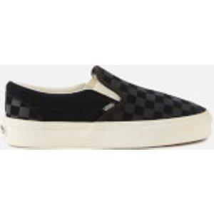 Vans Classic Checker Slip-on Trainers - Black - Uk 10 Vn0a38f7qcf1 Womens Footwear