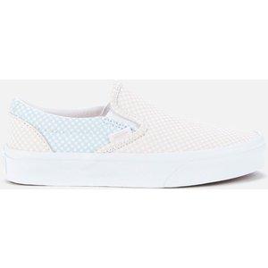 Vans Women's Pastel Checkerboard Classic Slip-on Trainers - Ballad Blue/silver Peony - Uk  Vn0a33tb44a Womens Footwear, Blue