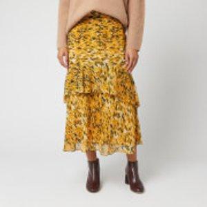 Whistles Women's Ikat Animal Nora Skirt - Yellow/multi - Uk 8 Sc531 30155 Womens Dresses & Skirts
