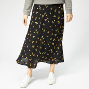 Whistles Women's Micro Floral Print Longline Skirt - Black/multi - Uk 6 - Black Sb51229159 Womens Dresses & Skirts, Black