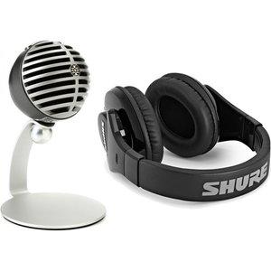 Shure Motiv Mv5 Usb Microphone Silver With Srh240a Headphones Mv5 Srh240