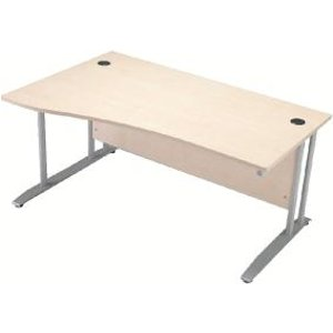 Arista 1600mm Left Hand Maple Wave Desk Dimensions W1600 X D1000800mm Kf838644 Office Supplies