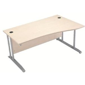 Arista 1600mm Right Hand Maple Wave Desk Dimensions W1600 X D1000800 Kf838645 Office Supplies