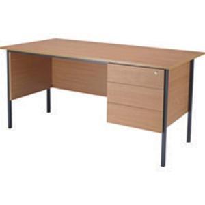 Initiative 1500mm 4 Leg Desk Single Pedestal 3 Drawer Beech Ds3447 Office Supplies