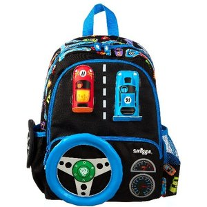 Smiggle Cars And Steering Wheel Black Backpack